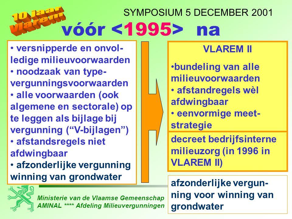 Ministerie van de Vlaamse Gemeenschap AMINAL **** Afdeling Milieuvergunningen SYMPOSIUM 5 DECEMBER 2001 • versnipperde en onvol- ledige milieuvoorwaar