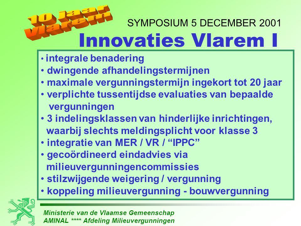 Ministerie van de Vlaamse Gemeenschap AMINAL **** Afdeling Milieuvergunningen SYMPOSIUM 5 DECEMBER 2001 • integrale benadering • dwingende afhandeling
