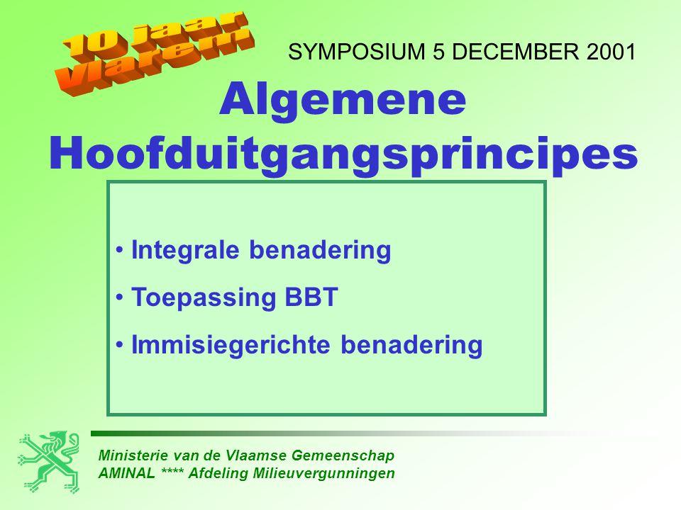 Ministerie van de Vlaamse Gemeenschap AMINAL **** Afdeling Milieuvergunningen SYMPOSIUM 5 DECEMBER 2001 Artikel 43ter VLAREM I (conform EG- richtlijn 96/61/EG) • BBT • geen belangrijke verontreiniging • afvalvoorkoming en -beheer • doelmatig energiegebruik • ongevallenpreventie IPPC - Hoofduitgangsprincipes