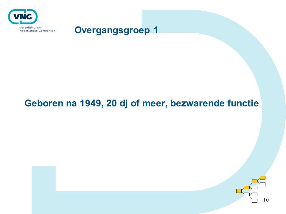 10 Overgangsgroep 1 Geboren na 1949, 20 dj of meer, bezwarende functie