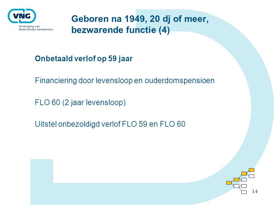 14 Geboren na 1949, 20 dj of meer, bezwarende functie (4) Onbetaald verlof op 59 jaar Financiering door levensloop en ouderdomspensioen FLO 60 (2 jaar levensloop) Uitstel onbezoldigd verlof FLO 59 en FLO 60