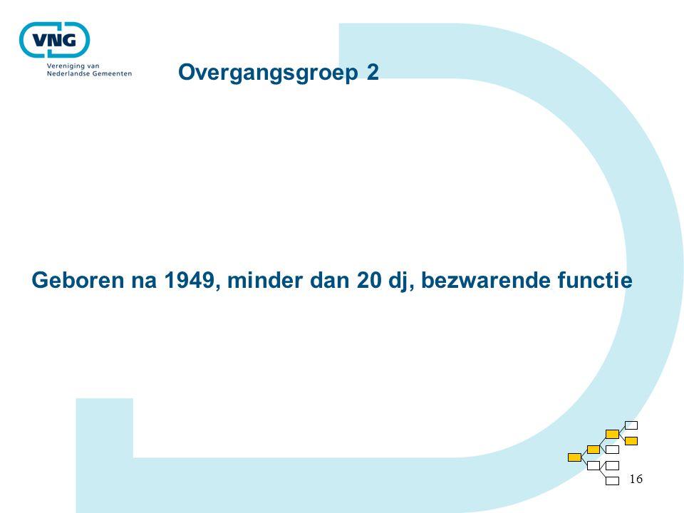16 Overgangsgroep 2 Geboren na 1949, minder dan 20 dj, bezwarende functie