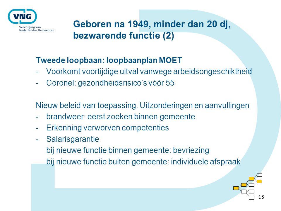 18 Geboren na 1949, minder dan 20 dj, bezwarende functie (2) Tweede loopbaan: loopbaanplan MOET -Voorkomt voortijdige uitval vanwege arbeidsongeschiktheid -Coronel: gezondheidsrisico's vóór 55 Nieuw beleid van toepassing.