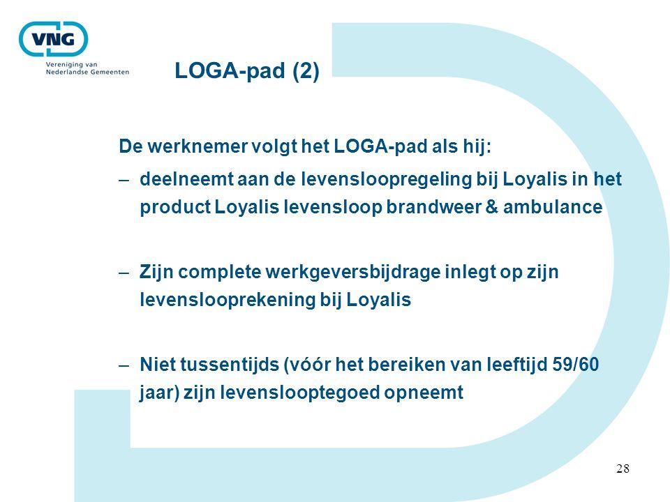 28 LOGA-pad (2) De werknemer volgt het LOGA-pad als hij: –deelneemt aan de levensloopregeling bij Loyalis in het product Loyalis levensloop brandweer & ambulance –Zijn complete werkgeversbijdrage inlegt op zijn levenslooprekening bij Loyalis –Niet tussentijds (vóór het bereiken van leeftijd 59/60 jaar) zijn levenslooptegoed opneemt
