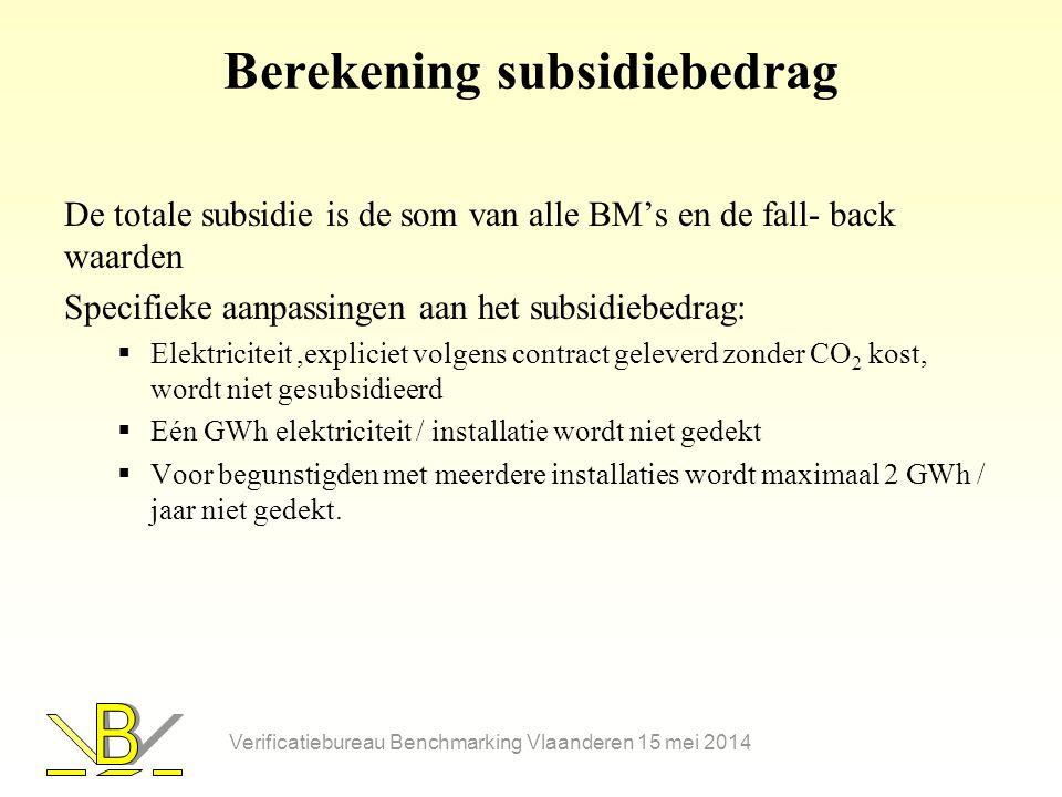 Berekening subsidiebedrag De totale subsidie is de som van alle BM's en de fall- back waarden Specifieke aanpassingen aan het subsidiebedrag:  Elektriciteit,expliciet volgens contract geleverd zonder CO 2 kost, wordt niet gesubsidieerd  Eén GWh elektriciteit / installatie wordt niet gedekt  Voor begunstigden met meerdere installaties wordt maximaal 2 GWh / jaar niet gedekt.
