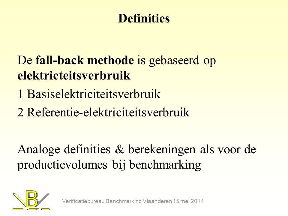 Berekening subsidiebedrag •Benchmarkmethode B a = Ai a x C x P a x BM x PM a B a : subsidiebedrag in Euro in jaar a Ai a : steunintensiteit in jaar a ( 85 % in 2013 tot 2015) C : CO 2 emissiefactor ( 0,76 ton CO 2 /MWh voor Vlaanderen) P a : EUA termijnkoers ; 7,93 Euro/ton CO 2 voor 2013 BM : productspecifieke benchmark PM a : referentieproductievolume voor jaar a (eenheid zie benchmark) Verificatiebureau Benchmarking Vlaanderen 15 mei 2014