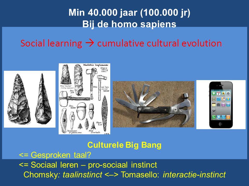Culturele Big Bang <= Gesproken taal? <= Sociaal leren – pro-sociaal instinct Chomsky: taalinstinct Tomasello: interactie-instinct Min 40.000 jaar (10