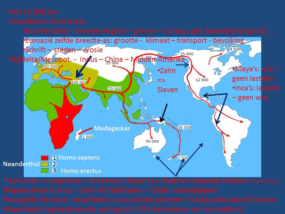 Homo sapiens Neanderthal Homo erectus Min 12.000 jaar • Vruchtbare halve maan • Domesticatie – rivieren irrigatie – granen – schaap, geit, kameel (tra