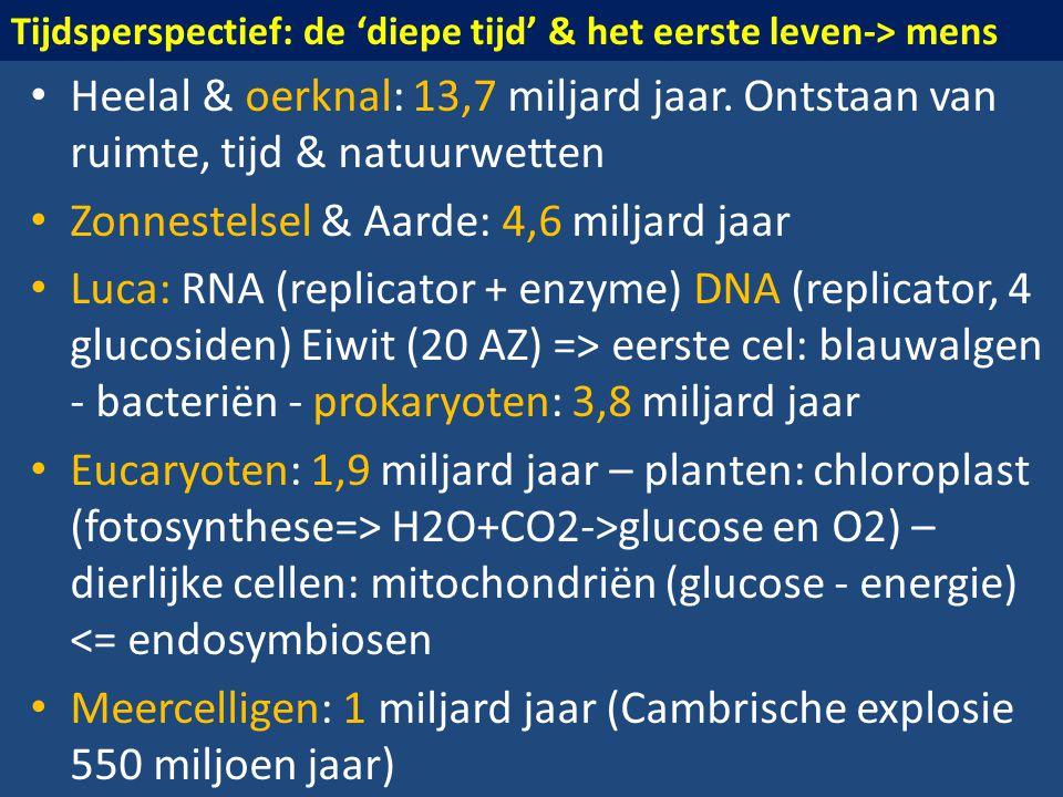 • Heelal & oerknal: 13,7 miljard jaar. Ontstaan van ruimte, tijd & natuurwetten • Zonnestelsel & Aarde: 4,6 miljard jaar • Luca: RNA (replicator + enz