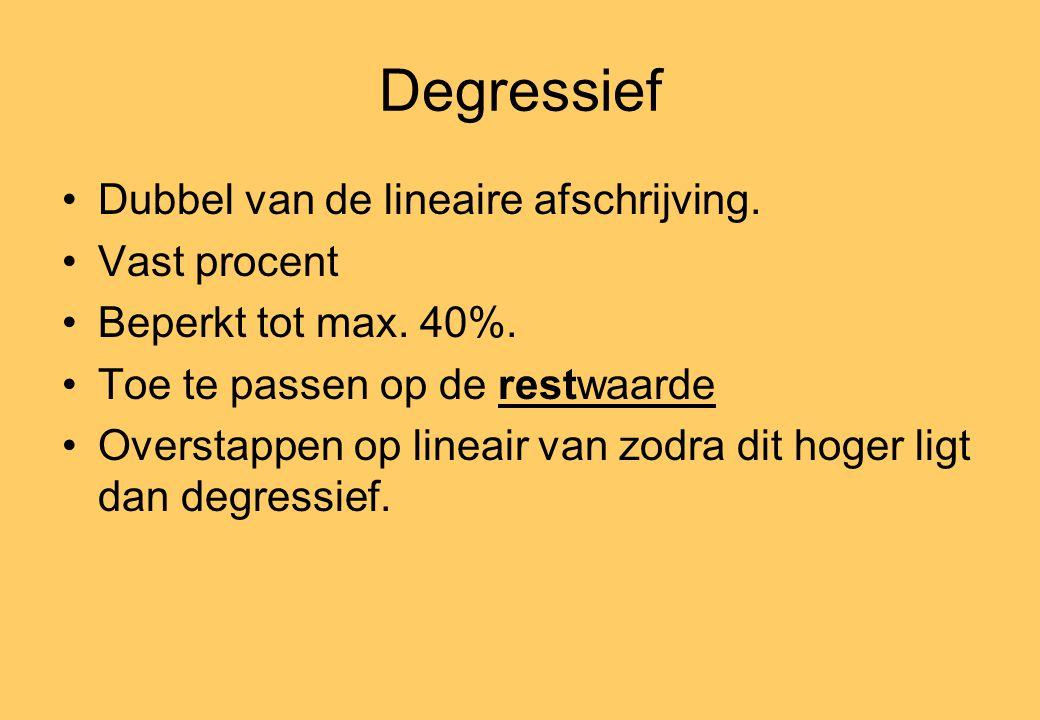 Degressief •Dubbel van de lineaire afschrijving. •Vast procent •Beperkt tot max.