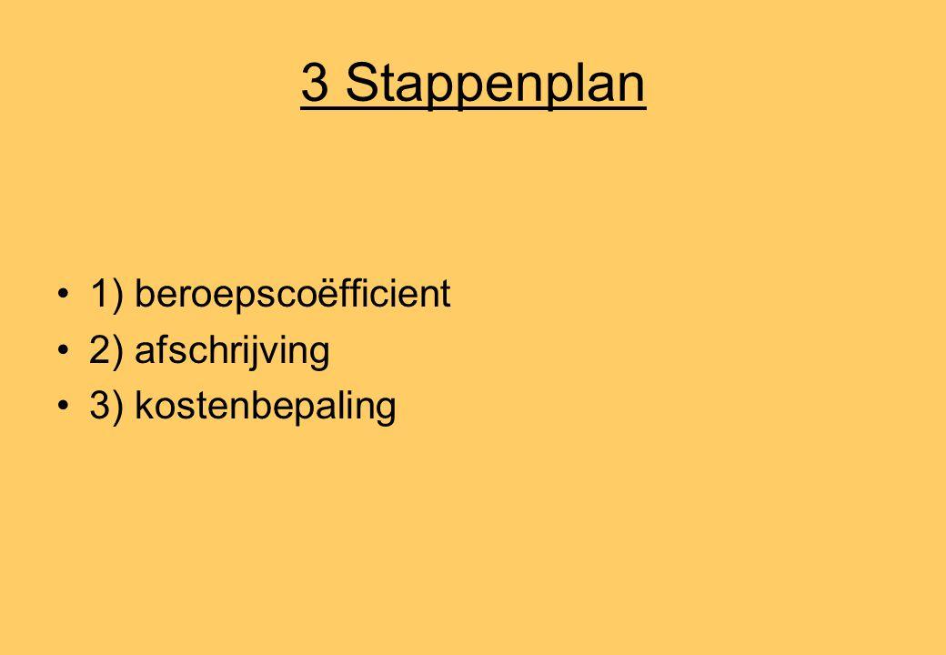 3 Stappenplan •1) beroepscoëfficient •2) afschrijving •3) kostenbepaling