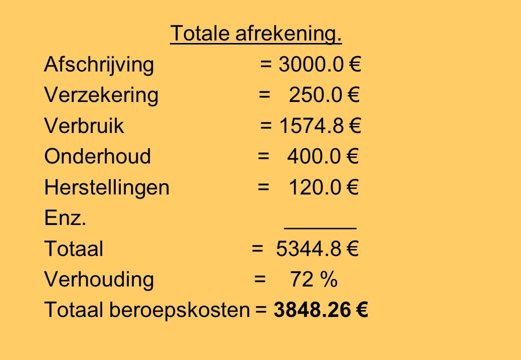 Totale afrekening. Afschrijving = 3000.0 € Verzekering = 250.0 € Verbruik = 1574.8 € Onderhoud = 400.0 € Herstellingen = 120.0 € Enz.______ Totaal = 5