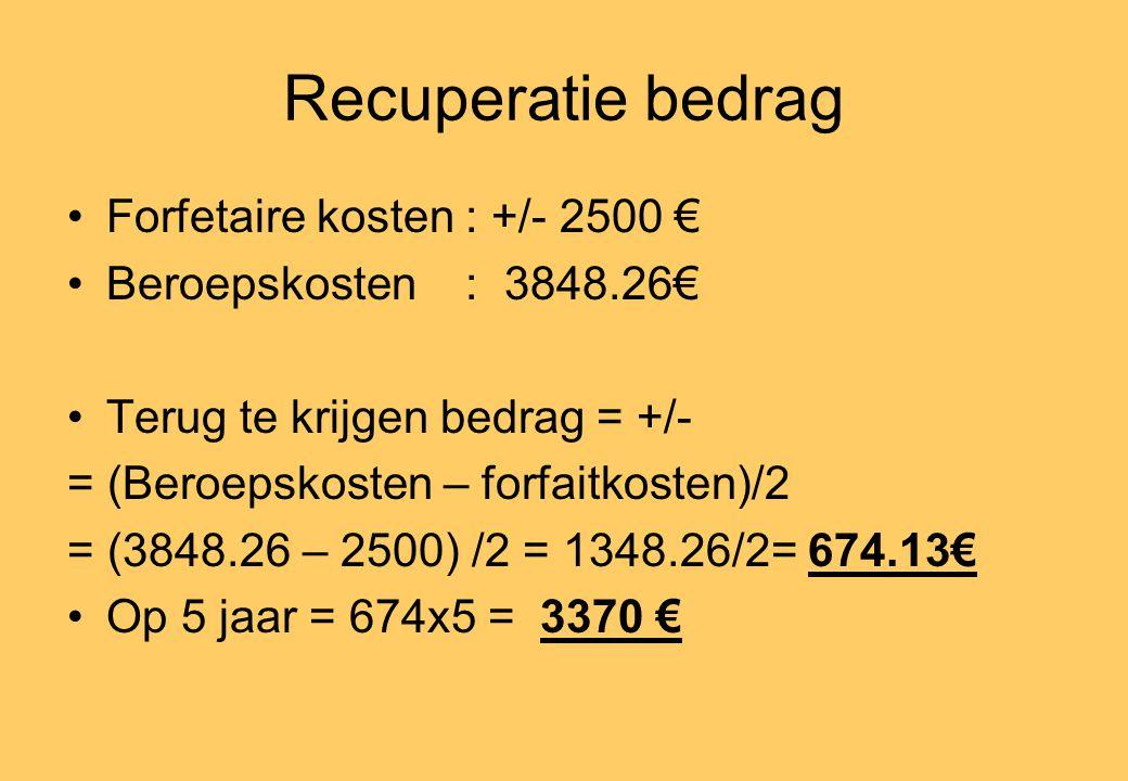 Recuperatie bedrag •Forfetaire kosten : +/- 2500 € •Beroepskosten : 3848.26€ •Terug te krijgen bedrag = +/- = (Beroepskosten – forfaitkosten)/2 = (3848.26 – 2500) /2 = 1348.26/2= 674.13€ •Op 5 jaar = 674x5 = 3370 €