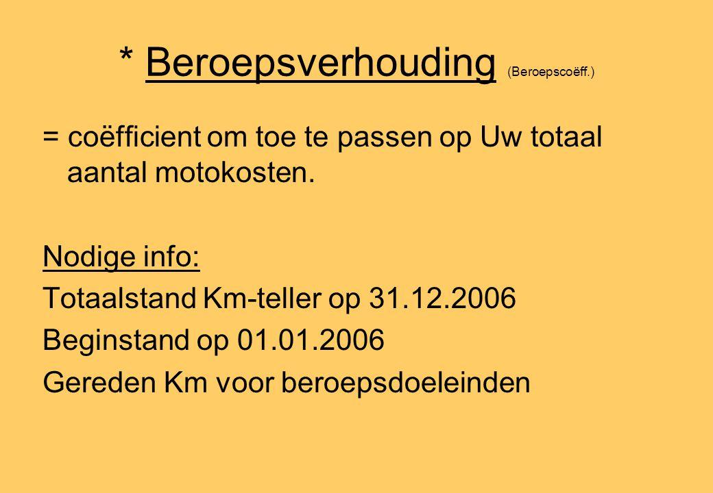 * Beroepsverhouding (Beroepscoëff.) = coëfficient om toe te passen op Uw totaal aantal motokosten. Nodige info: Totaalstand Km-teller op 31.12.2006 Be