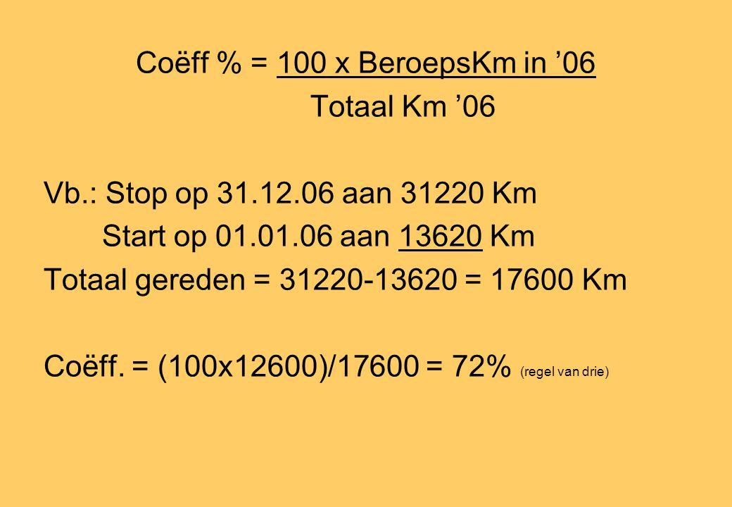 Coëff % = 100 x BeroepsKm in '06 Totaal Km '06 Vb.: Stop op 31.12.06 aan 31220 Km Start op 01.01.06 aan 13620 Km Totaal gereden = 31220-13620 = 17600 Km Coëff.