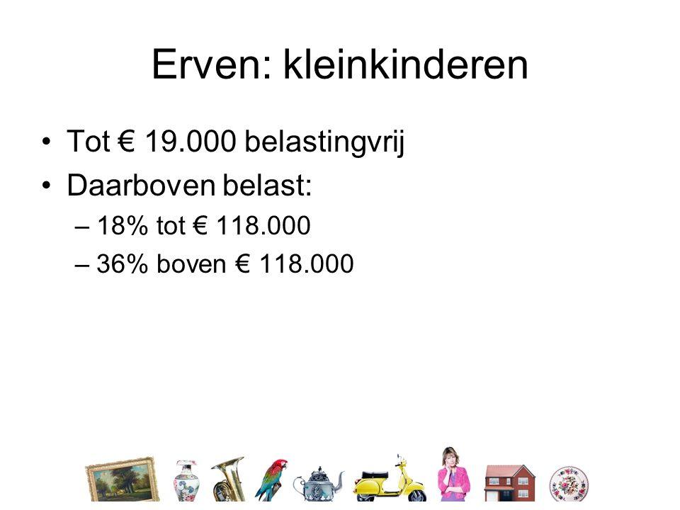 Erven: kleinkinderen •Tot € 19.000 belastingvrij •Daarboven belast: –18% tot € 118.000 –36% boven € 118.000