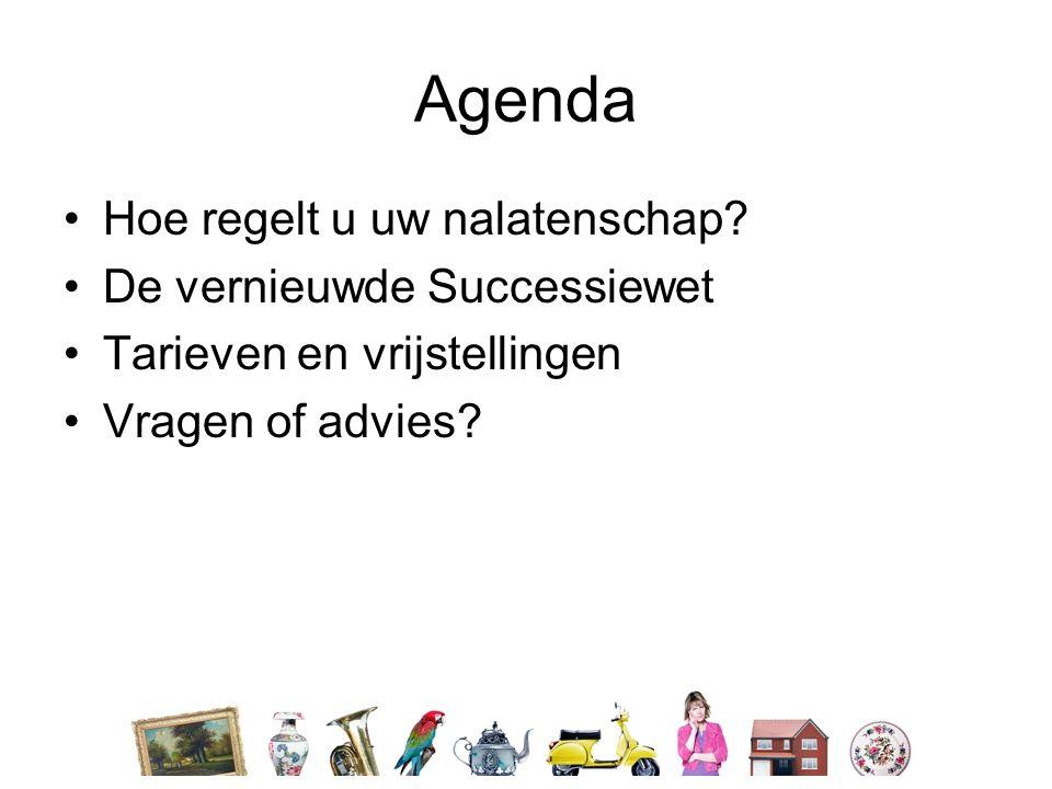 Agenda •Hoe regelt u uw nalatenschap? •De vernieuwde Successiewet •Tarieven en vrijstellingen •Vragen of advies?