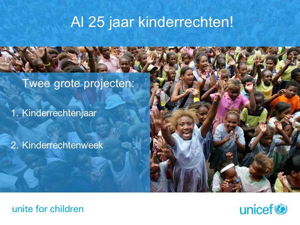 Al 25 jaar kinderrechten! Twee grote projecten: 1.Kinderrechtenjaar 2.Kinderrechtenweek
