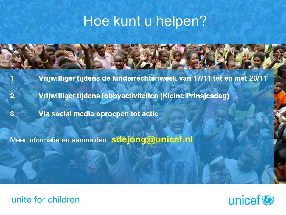 Hoe kunt u helpen? 1.Vrijwilliger tijdens de kinderrechtenweek van 17/11 tot en met 20/11 2. Vrijwilliger tijdens lobbyactiviteiten (Kleine Prinsjesda
