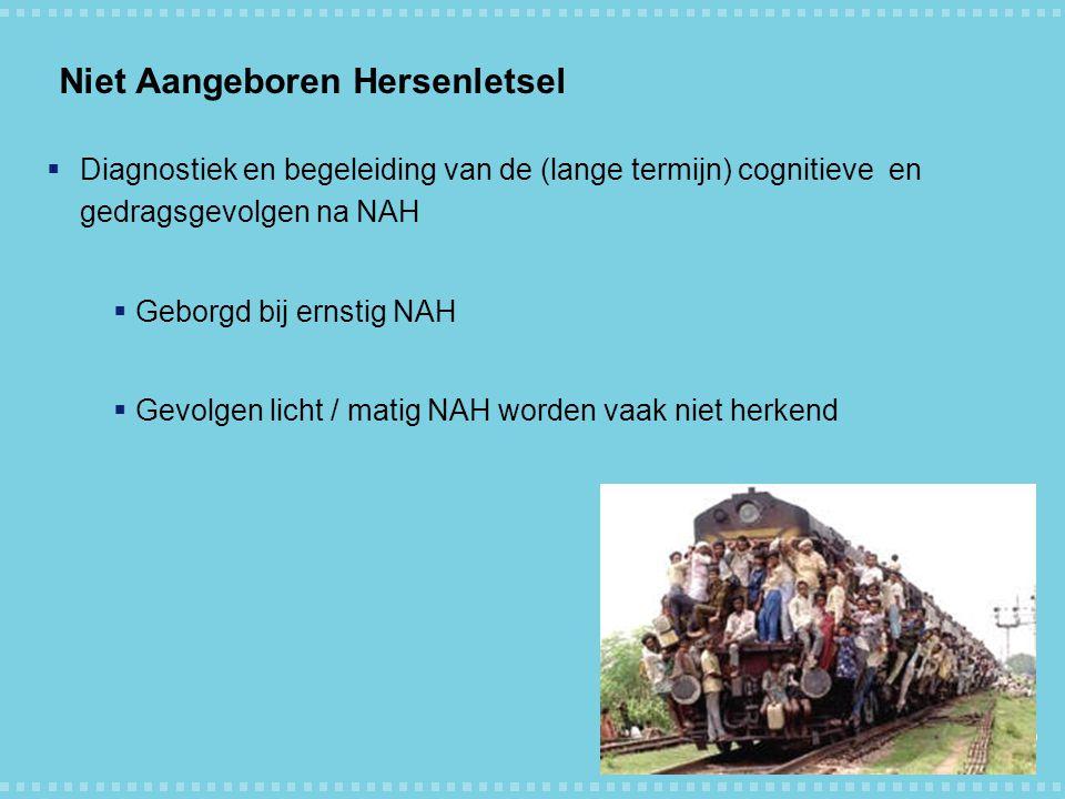 Niet Aangeboren Hersenletsel  Diagnostiek en begeleiding van de (lange termijn) cognitieve en gedragsgevolgen na NAH  Geborgd bij ernstig NAH  Gevo