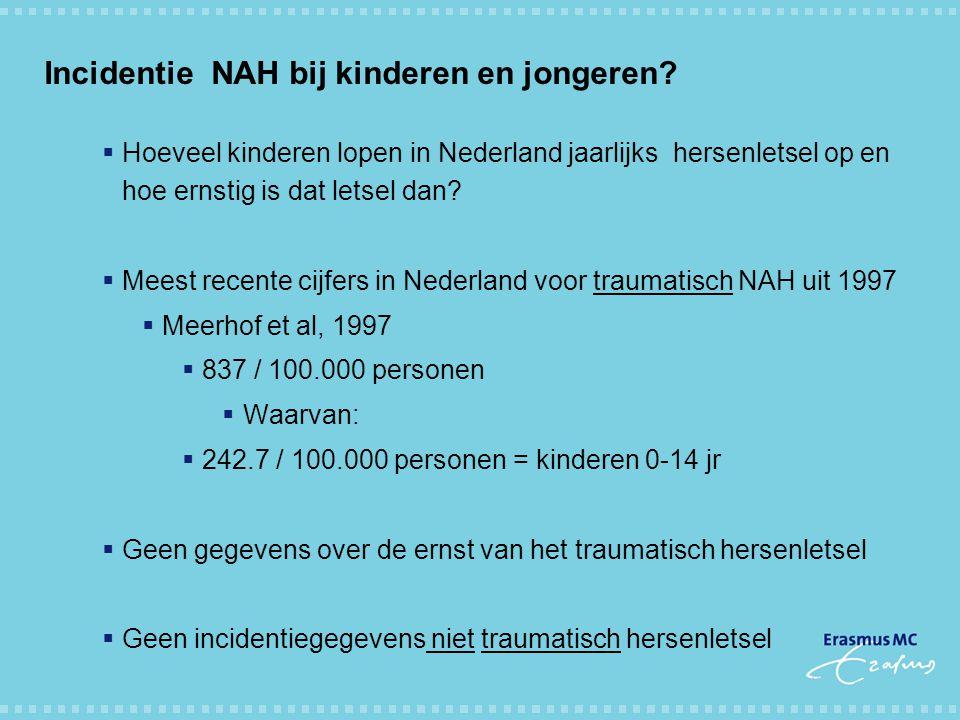 Incidentie NAH bij kinderen en jongeren?  Hoeveel kinderen lopen in Nederland jaarlijks hersenletsel op en hoe ernstig is dat letsel dan?  Meest rec