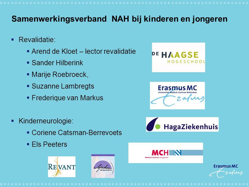 Samenwerkingsverband NAH bij kinderen en jongeren  Revalidatie:  Arend de Kloet – lector revalidatie  Sander Hilberink  Marije Roebroeck,  Suzann