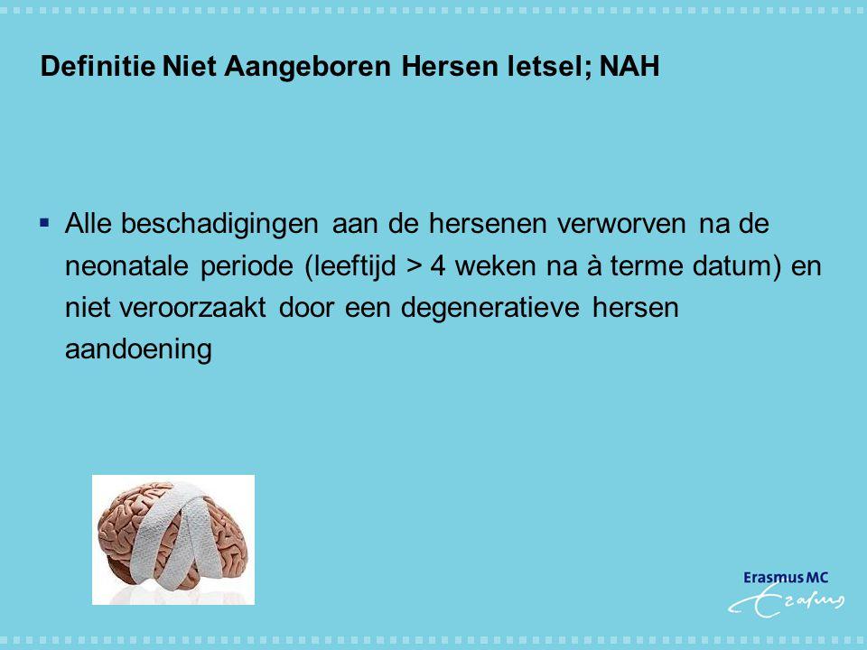 Definitie Niet Aangeboren Hersen letsel; NAH  Alle beschadigingen aan de hersenen verworven na de neonatale periode (leeftijd > 4 weken na à terme da