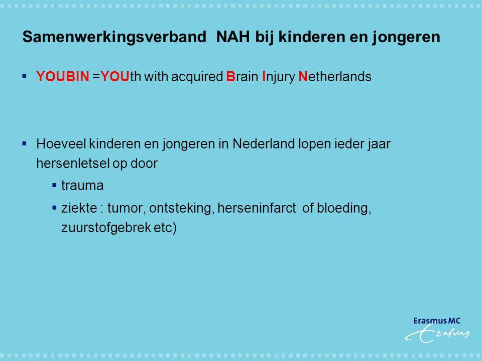 Samenwerkingsverband NAH bij kinderen en jongeren  YOUBIN =YOUth with acquired Brain Injury Netherlands  Hoeveel kinderen en jongeren in Nederland l