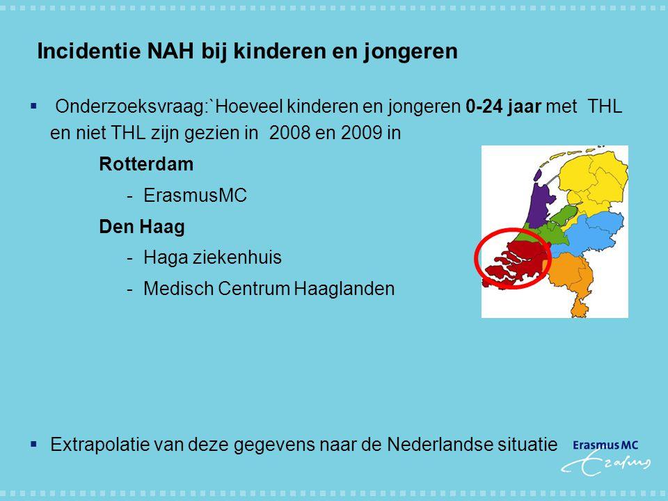 Incidentie NAH bij kinderen en jongeren  Onderzoeksvraag:`Hoeveel kinderen en jongeren 0-24 jaar met THL en niet THL zijn gezien in 2008 en 2009 in R