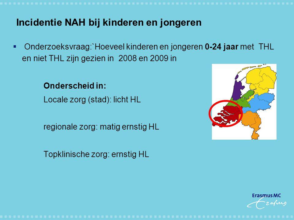 Incidentie NAH bij kinderen en jongeren  Onderzoeksvraag:`Hoeveel kinderen en jongeren 0-24 jaar met THL en niet THL zijn gezien in 2008 en 2009 in O