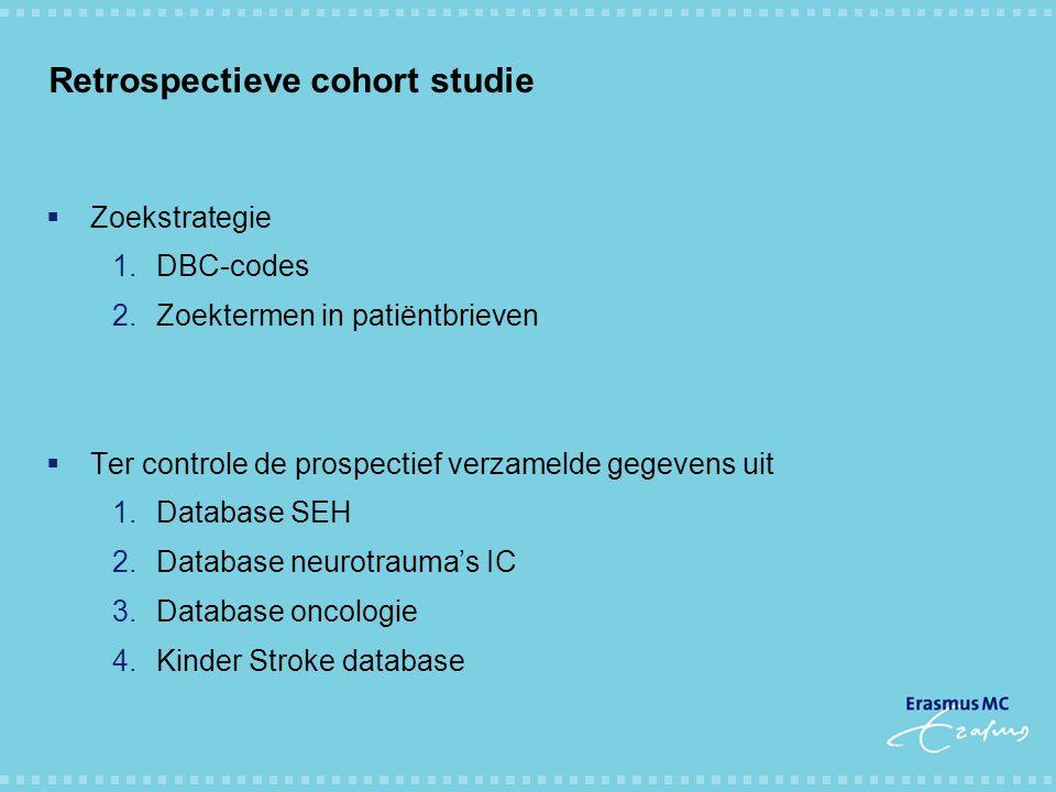 Retrospectieve cohort studie  Zoekstrategie 1.DBC-codes 2.Zoektermen in patiëntbrieven  Ter controle de prospectief verzamelde gegevens uit 1.Databa