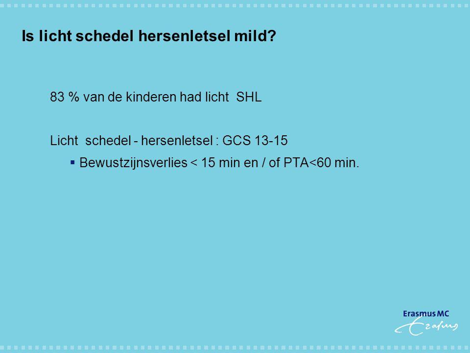 Is licht schedel hersenletsel mild? 83 % van de kinderen had licht SHL Licht schedel - hersenletsel : GCS 13-15  Bewustzijnsverlies < 15 min en / of