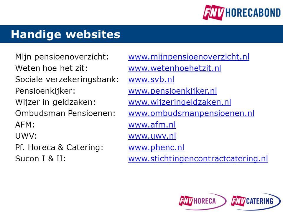 Mijn pensioenoverzicht:www.mijnpensioenoverzicht.nlwww.mijnpensioenoverzicht.nl Weten hoe het zit:www.wetenhoehetzit.nlwww.wetenhoehetzit.nl Sociale v