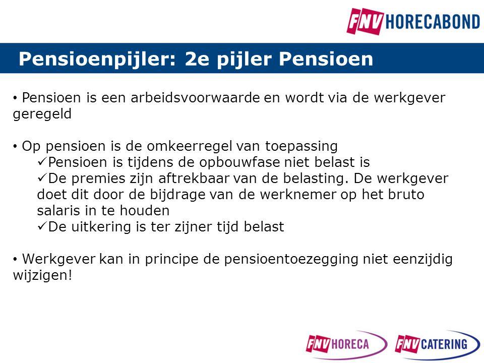 • Pensioen is een arbeidsvoorwaarde en wordt via de werkgever geregeld • Op pensioen is de omkeerregel van toepassing  Pensioen is tijdens de opbouwf