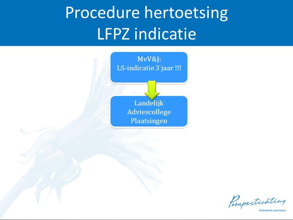 Procedure hertoetsing LFPZ indicatie MvV&J: LS-indicatie 3 jaar !!! MvV&J: LS-indicatie 3 jaar !!! Landelijk Adviescollege Plaatsingen