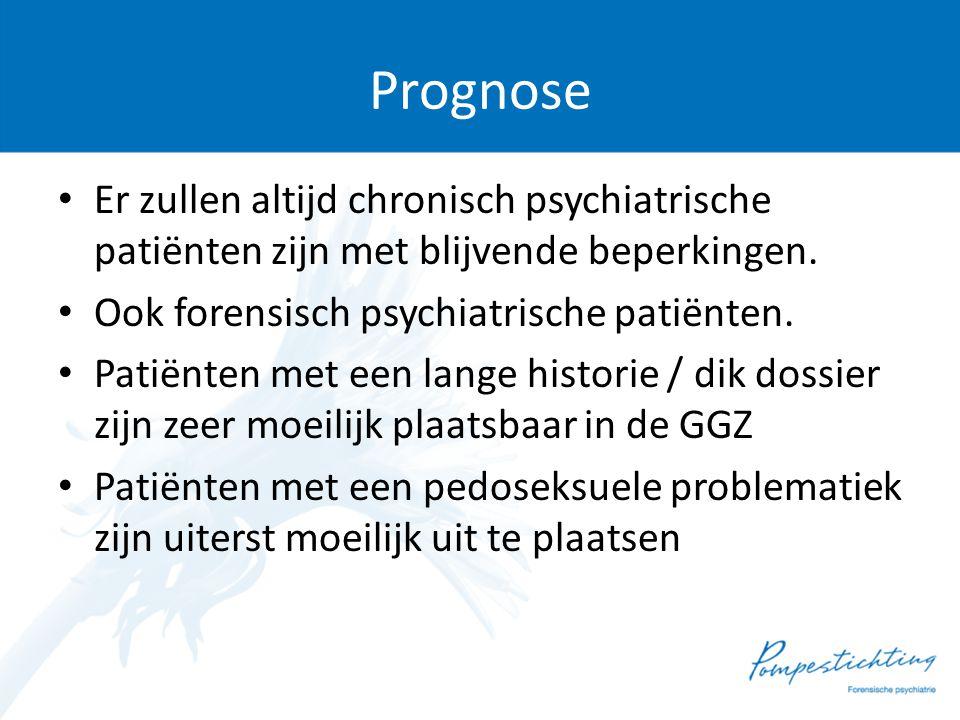Prognose • Er zullen altijd chronisch psychiatrische patiënten zijn met blijvende beperkingen. • Ook forensisch psychiatrische patiënten. • Patiënten