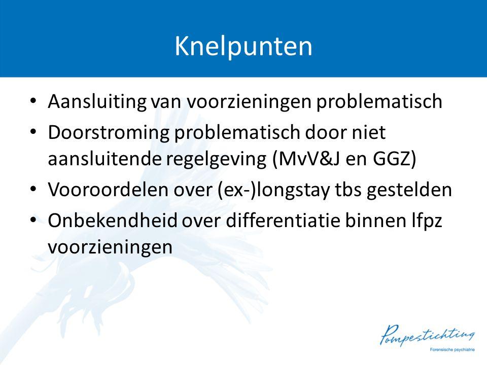 Knelpunten • Aansluiting van voorzieningen problematisch • Doorstroming problematisch door niet aansluitende regelgeving (MvV&J en GGZ) • Vooroordelen