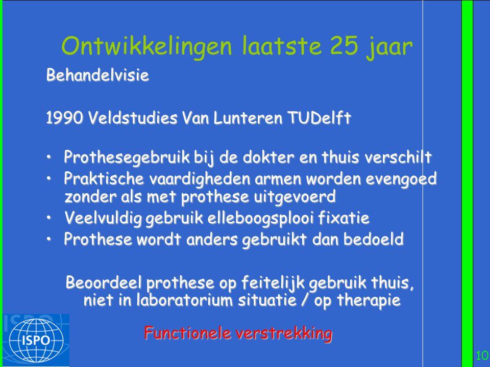 10 Ontwikkelingen laatste 25 jaar Behandelvisie 1990 Veldstudies Van Lunteren TUDelft 1990 Veldstudies Van Lunteren TUDelft •Prothesegebruik bij de do