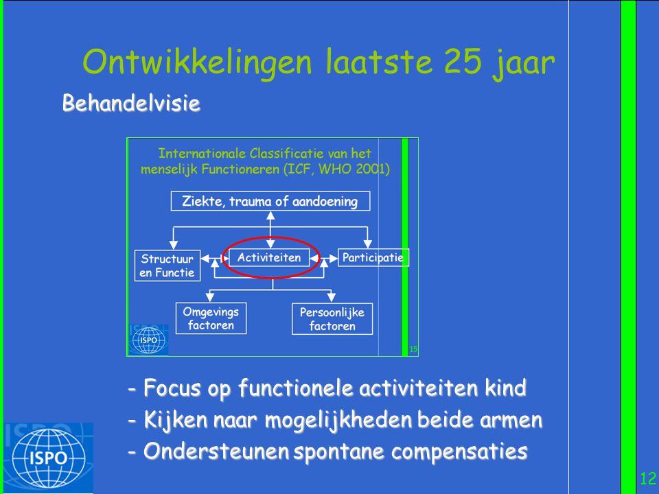 12 Ontwikkelingen laatste 25 jaar Behandelvisie - Focus op functionele activiteiten kind - Kijken naar mogelijkheden beide armen - Ondersteunen sponta