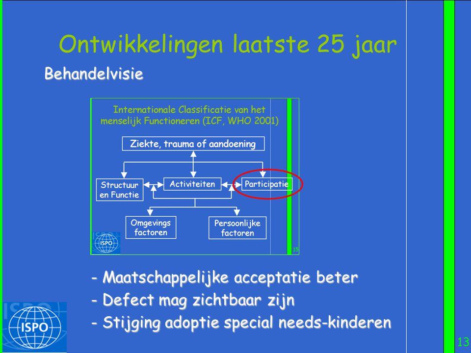 13 Ontwikkelingen laatste 25 jaar Behandelvisie - Maatschappelijke acceptatie beter - Defect mag zichtbaar zijn - Stijging adoptie special needs-kinde
