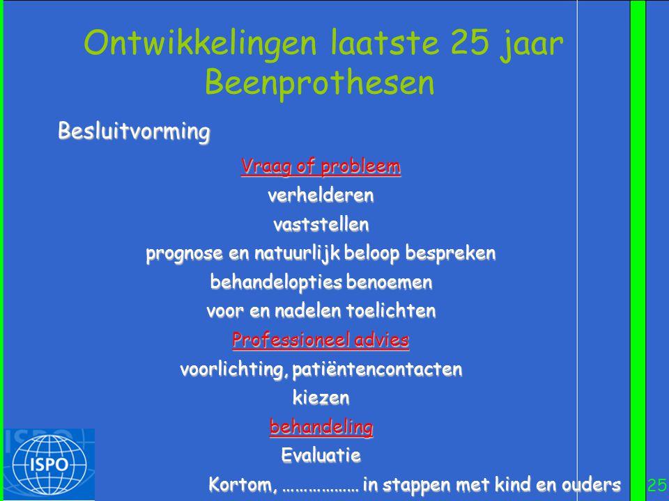 25 Besluitvorming Ontwikkelingen laatste 25 jaar Beenprothesen Vraag of probleem verhelderenvaststellen prognose en natuurlijk beloop bespreken behand