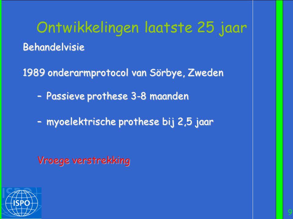 9 Ontwikkelingen laatste 25 jaar Behandelvisie 1989 onderarmprotocol van Sörbye, Zweden 1989 onderarmprotocol van Sörbye, Zweden –Passieve prothese 3-