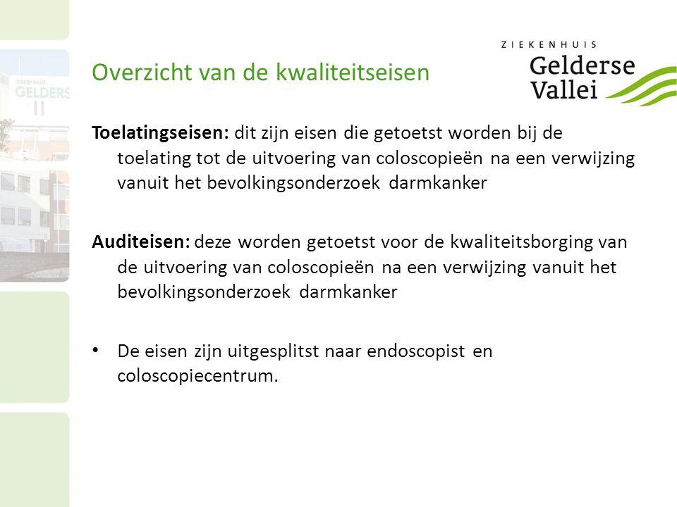 Overzicht van de kwaliteitseisen Toelatingseisen: dit zijn eisen die getoetst worden bij de toelating tot de uitvoering van coloscopieën na een verwij