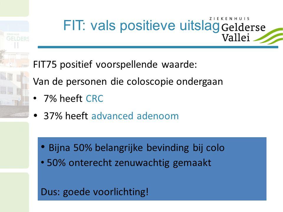 FIT: vals positieve uitslag FIT75 positief voorspellende waarde: Van de personen die coloscopie ondergaan • 7% heeft CRC  37% heeft advanced adenoom