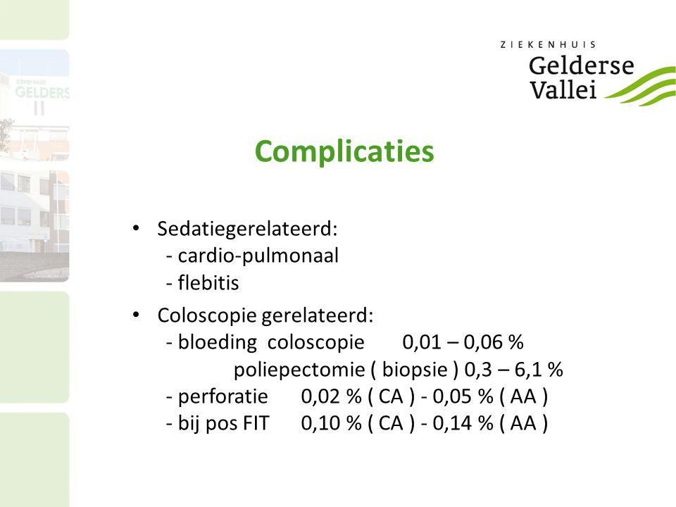 Complicaties • Sedatiegerelateerd: - cardio-pulmonaal - flebitis • Coloscopie gerelateerd: - bloedingcoloscopie0,01 – 0,06 % poliepectomie ( biopsie )