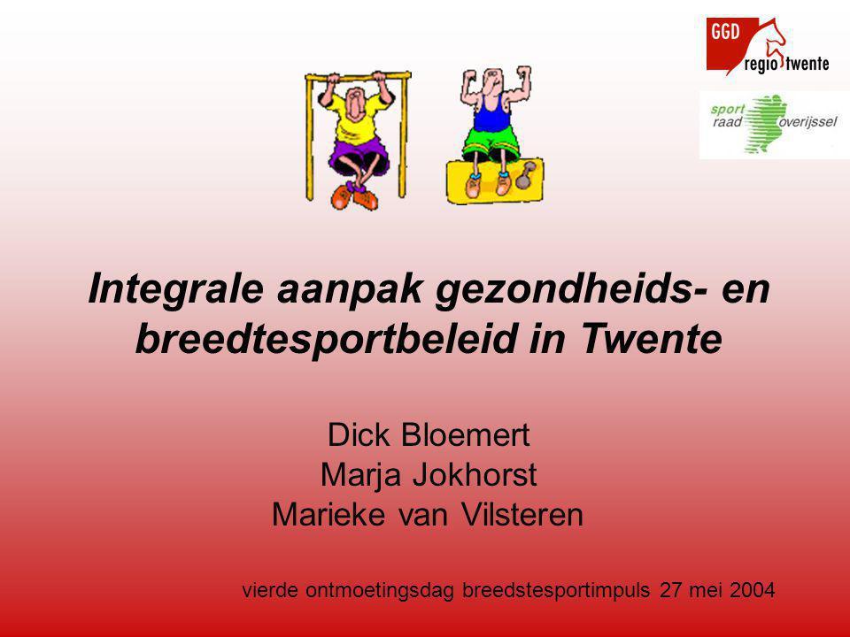 vierde ontmoetingsdag breedstesportimpuls 27 mei 2004 Integrale aanpak gezondheids- en breedtesportbeleid in Twente Dick Bloemert Marja Jokhorst Marieke van Vilsteren