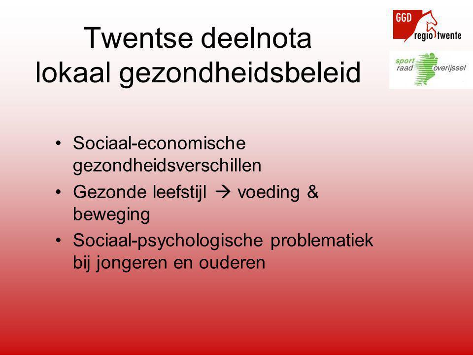 Twentse deelnota lokaal gezondheidsbeleid •Sociaal-economische gezondheidsverschillen •Gezonde leefstijl  voeding & beweging •Sociaal-psychologische
