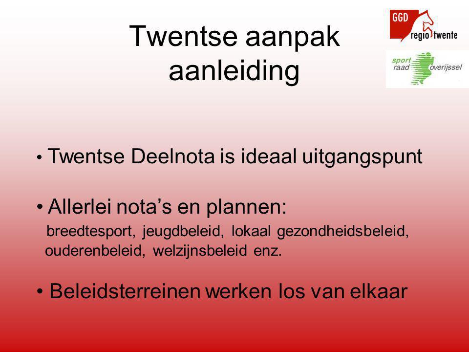 Twentse aanpak aanleiding • Twentse Deelnota is ideaal uitgangspunt • Allerlei nota's en plannen: breedtesport, jeugdbeleid, lokaal gezondheidsbeleid, ouderenbeleid, welzijnsbeleid enz.