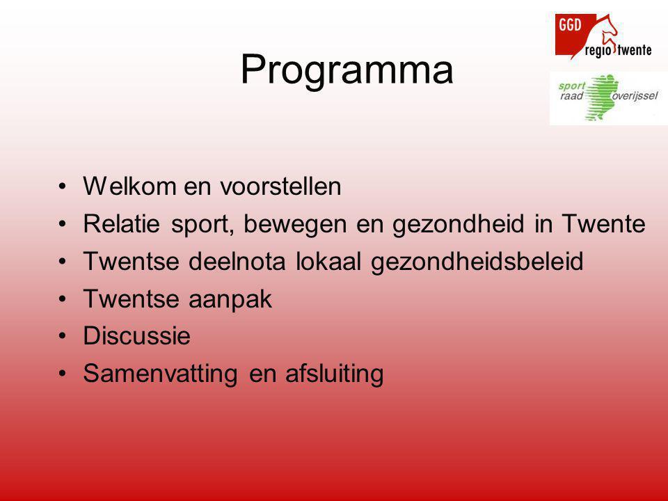 •Welkom en voorstellen •Relatie sport, bewegen en gezondheid in Twente •Twentse deelnota lokaal gezondheidsbeleid •Twentse aanpak •Discussie •Samenvat