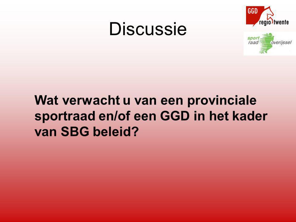 Wat verwacht u van een provinciale sportraad en/of een GGD in het kader van SBG beleid Discussie